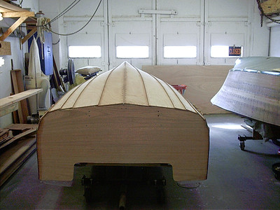 Rear view of new transom and bottom installed.