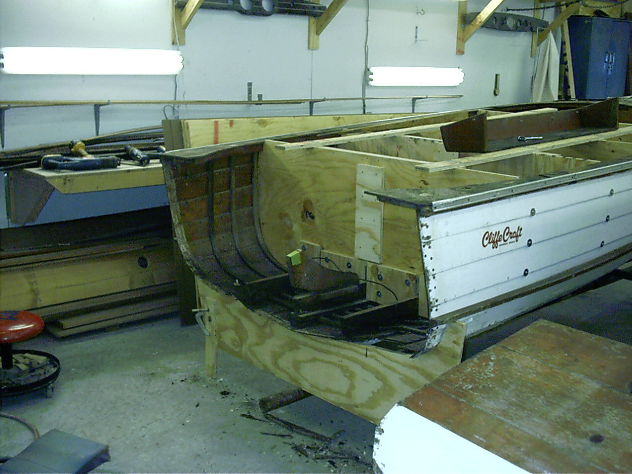 Starboard view of old transom removed.