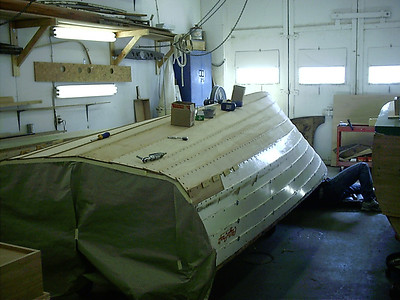 Rear view of port bottom with all the the new wood installed.