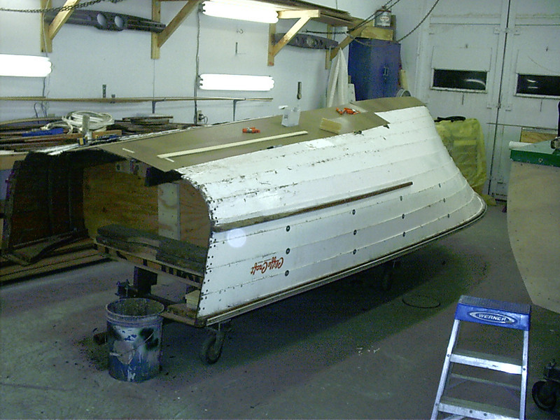Rear port view of hull upside down.Starting to make patterns for bottom skin.