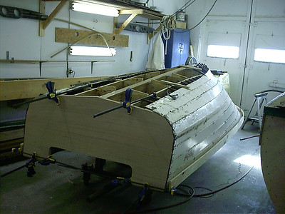 New transom, inside keel, and two new stringers.