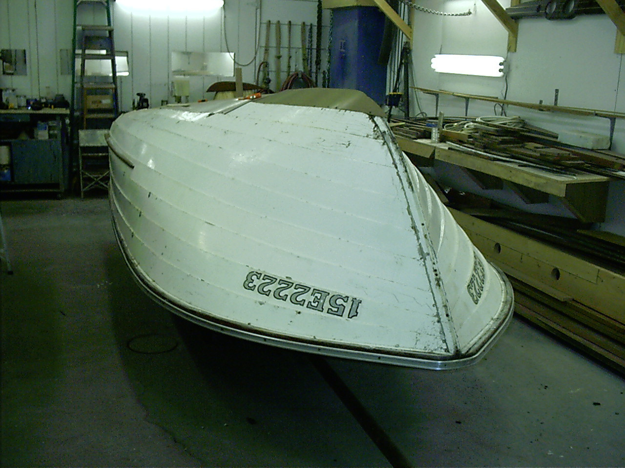 Front view of hull upside down.