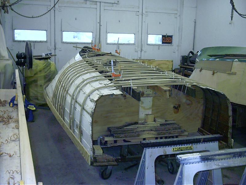 Starboard ribbs bent around the hull.