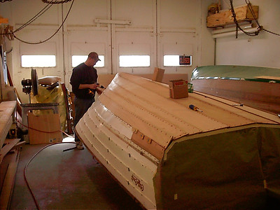 Rear view of last starboard bottom piece installed.