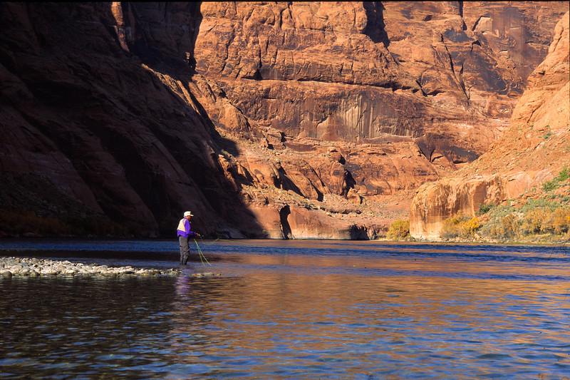 Fly Fishing below Geln Canyon Dam on the Colorado River.