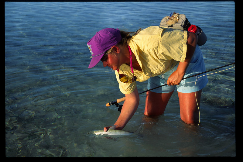 Wendy Gunn releasing a bonefish.