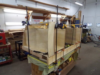 Another view of both drawer boxes being built.