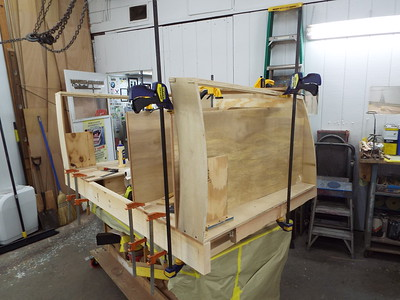 Another view of the drawer box being built.