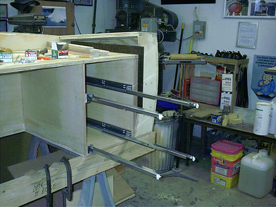 Full extention self closing drawer slide installed.