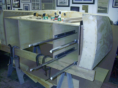Another view of the drawer slides installed.