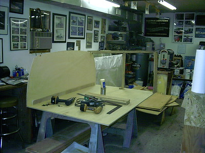 Construction started on a new desk.