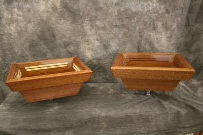 Sinks can be mounted on top or under the vanity top.  We also offer two types of mahogany pedestals: wall mounted and stand alone.