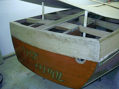 New bottom transom plank replaced.