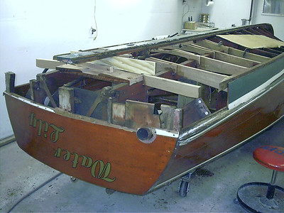 Removed rear transom frame and starting to replace bottom frames.