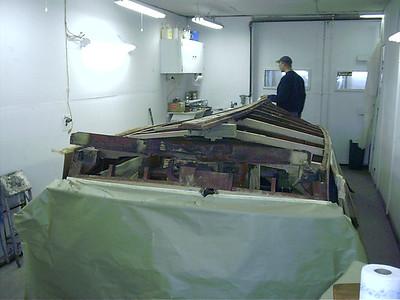 old transom frame removed