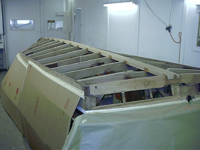 new transom frame and keel installed