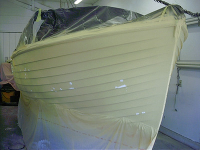 Front view of starboard side in primer.