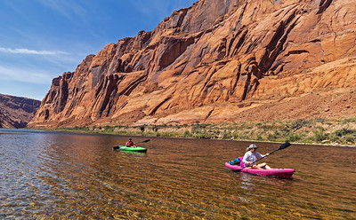 two Female Kayakers Heading Down Colorado River in AZ