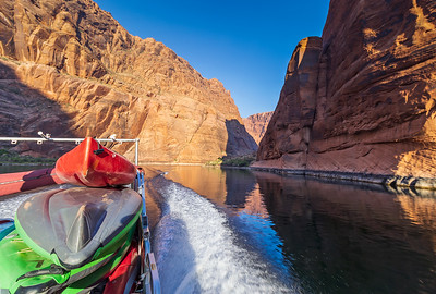 Kayakers Being Shuttled Upriver To Horseshoe Bend on Colorado River