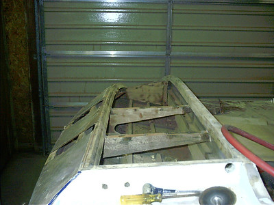 Rear view of plywood gussets removed.