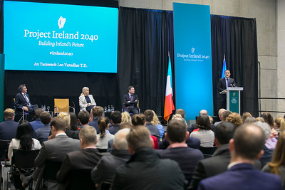 "12/03/2018. FREE TO USE IMAGE. Project Ireland 2040. Pictured is An Taoiseach Leo Varadkar at The Waterford Institute of Technology Arena on Friday last to present ""Project Ireland 2040"", also pictured are Finance Minister Paschal Donohoe TD,, the Minister of State for Higher Education, Mary Mitchell O'Connor TD, and the Minister of State for Training, Skills, Innovation and Research, John Halligan TD. Picture: Patrick Browne"