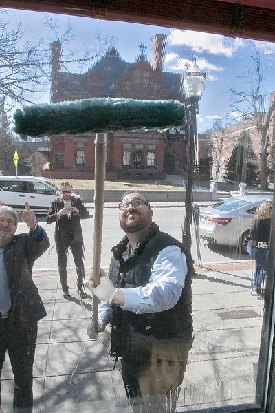 A new group called Project Maintain is trying to help beautify the empty store fronts on Main Street in Fitchburg. The first building they were working on Thursday, March 5, 2020 was at 655 Main Street owned by Rick Boscardin. Mayor Stephen DiNatale and David Ginisi from the North Central MA Chamber of Commerce work on cleaning the windows at 655 Main Street. SENTINEL & ENTERPRISE/JOHN LOVE