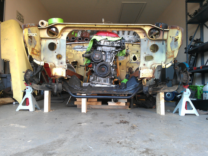 S13 crossmember is all mocked up under the S30.