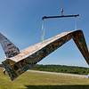 Jerry Beck's Project Soar launched at the Fitchburg Municipal Airport on Tuesday morning, June 12, 2018. The plane had a mishap while it was hanging from a crane. SENTINEL & ENTERPRISE/JOHN LOVE