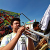 Jerry Beck's Project Soar launched at the Fitchburg Municipal Airport on Tuesday morning, June 12, 2018. Playing the trumpet with the Fitchburg High School band is Shaw DiGeronimo as they entertain the crowds during the event. SENTINEL & ENTERPRISE/JOHN LOVE