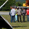 Jerry Beck's Project Soar launched at the Fitchburg Municipal Airport on Tuesday morning, June 12, 2018. The plane sits on the ground as a crew works on fixing it after a mishap. SENTINEL & ENTERPRISE/JOHN LOVE