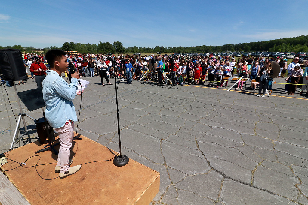 . Jerry Beck\'s Project Soar launched at the Fitchburg Municipal Airport on Tuesday morning, June 12, 2018. Fitchburg High School junior Matthew Kroch addresses the crowd at the event. SENTINEL & ENTERPRISE/JOHN LOVE