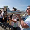 Jerry Beck's Project Soar launched at the Fitchburg Municipal Airport on Tuesday morning, June 12, 2018. Playing the baritone with the Fitchburg High School band is Director Tabitha Greenlees as they entertain the crowds during the event. SENTINEL & ENTERPRISE/JOHN LOVE