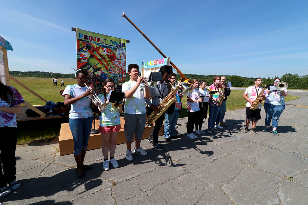 . Jerry Beck\'s Project Soar launched at the Fitchburg Municipal Airport on Tuesday morning, June 12, 2018. The Fitchburg High School band entertained the crowds during the event. SENTINEL & ENTERPRISE/JOHN LOVE