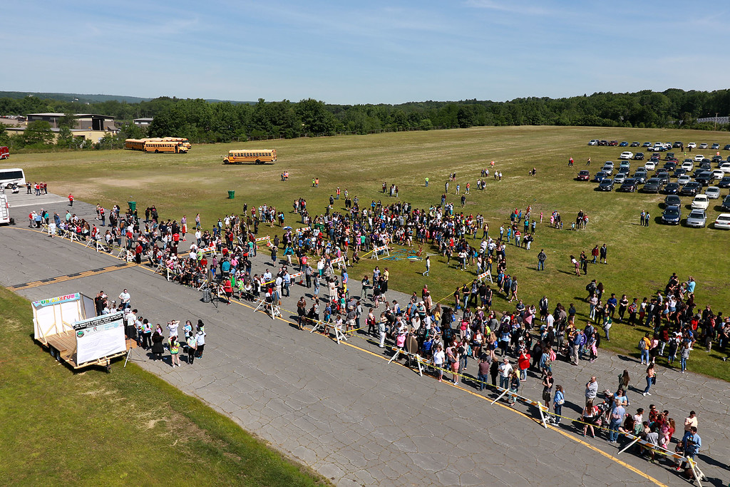 . Jerry Beck\'s Project Soar launched at the Fitchburg Municipal Airport on Tuesday morning, June 12, 2018. Many came to see the plane during the event. SENTINEL & ENTERPRISE/JOHN LOVE