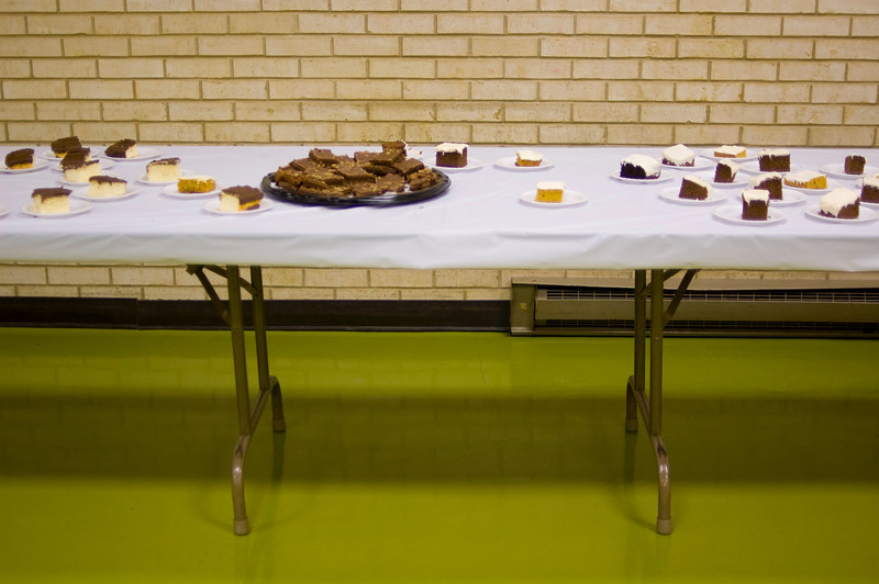Cake, brownies, and pie are always welcome and much scrutinized.