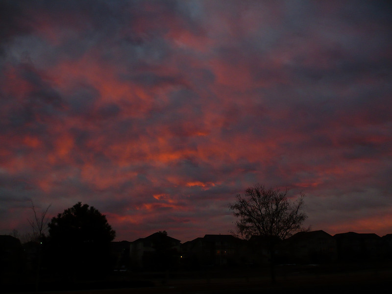 Jan 22:  Red Skies in Morning - Sailors Warning...... as I was pulling out of our streets this morning, you couldn't help but notice the sunrise.  I just had to stop and take this picture