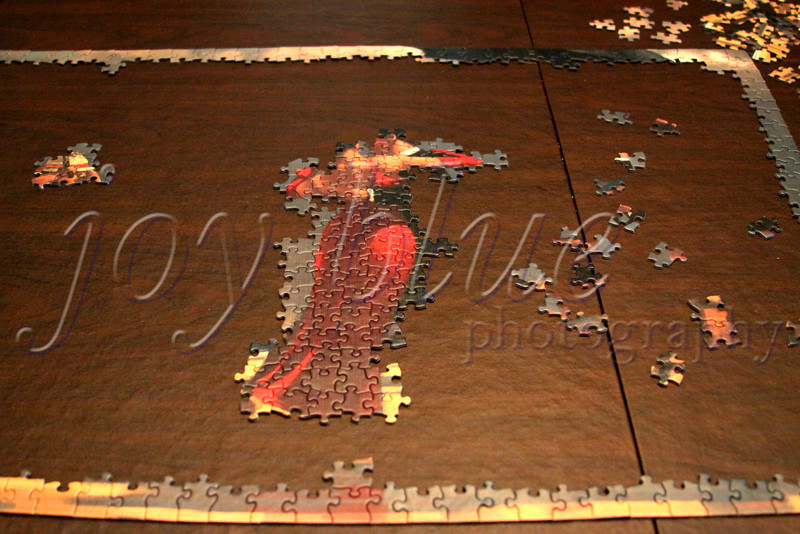 <b>Day 258—16 July 2012 A decent night's work</b>  In addition to sorting my pieces last night, I finished the frame, most of the lady of the house, and the maid's face/hat. [Today's shot shows last night's end point.] I put another dent in it tonight, finished my book on CD, and started another book.