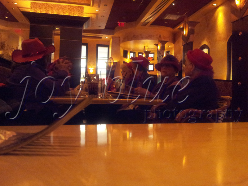 "<b>Day 64—4 January 2012 Red Hat Society</b>  I need serious pointers on ninja stealth from my friend Scott. Here's my first (and very awkward) attempt at ""shooting from the hip"" (more like ""shooting from the table""). It was sort of hard to be inconspicuous, given our close proximity. Based on my visit to their website, I imagine the Red Hatters (over 50; under 50 are Pink Hatters) have a sense of humor about the attention they garner."