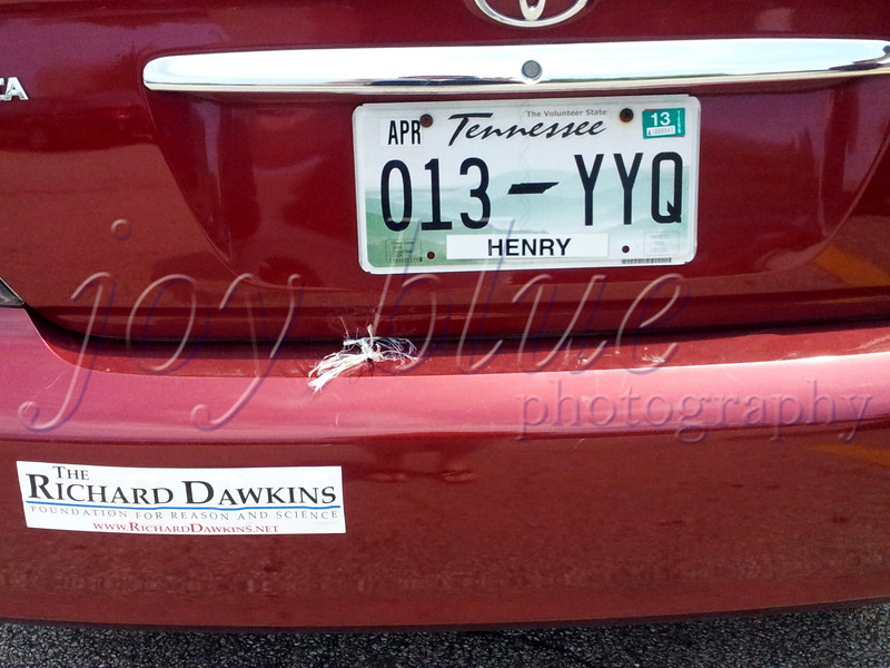 <b>Day 245—3 July 2012 Welcome, visitor!</b>  A vehicle from Tennessee (heart of the Bible belt) is a surprising carrier of a Dawkins Foundation bumper sticker. I'm sorry I didn't get to meet the owner.