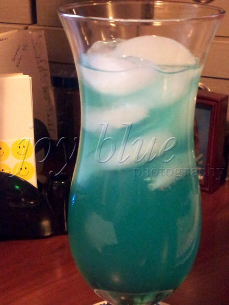 "<b>Day 276—3 August 2012 We have a winner!</b>  For about the last month, we've been testing/adapting drink recipes. Tonight, candidate 6 is crowned ""Tropical Storm Debby."" It's not as blue as I'd like; but, it's definitely the best tasting of the candidates. It will make its official debut this weekend, when we host some friends."