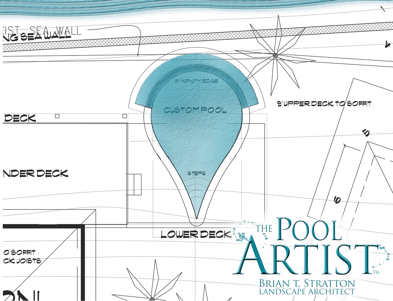 Custom Infinitiy Edge Pool Design by the Pool Artist - 50' from waters edge