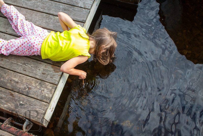 """I can touch the bottom! - Week 29: """"Summer""""<br /> <br /> What can build summer memories more than going out to the dock at the summer house before breakfast and poking things in the water with a stick?"""
