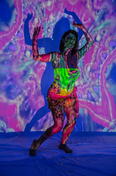 Liquid Light Show and Black Light in a Bikini