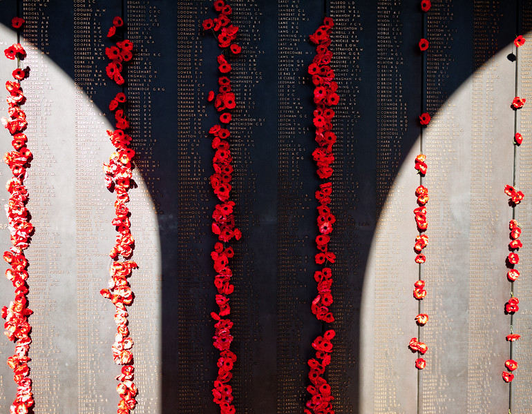The Honour Roll at the War Memorial on ANZAC day.