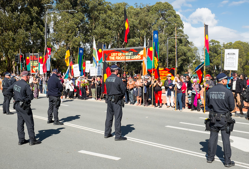Aboriginal Protest, Anzac Day, 2015, Canberra