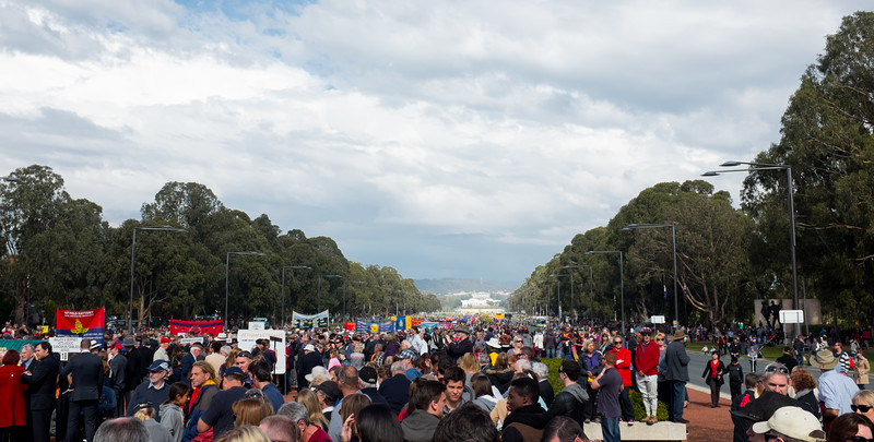 Crowd Assembles, Anzac Day, 2015, Canberra