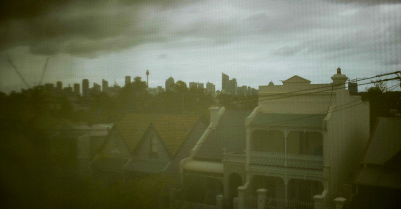 Sydney Skyline. At Annandale Gallery looking through a blind.