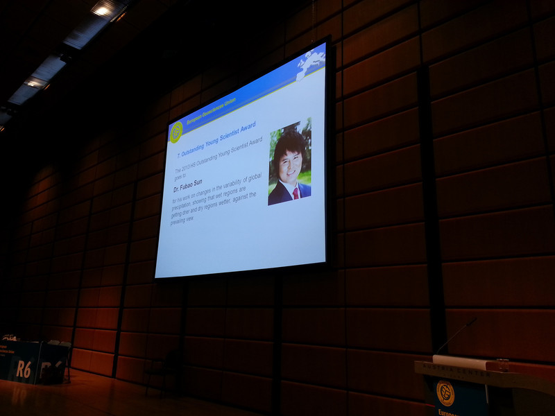 EGU 2014, Fubao Sun, Young Scientist Prize, Hydrology Division