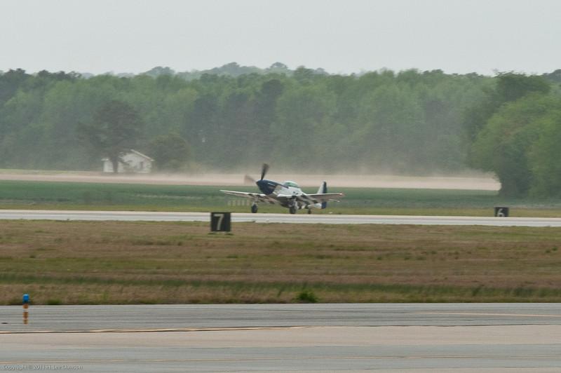 110416_Seymour-Johnson Air Show_054  P-51 landing. (Hey, you didn't need to stop so far away!!)
