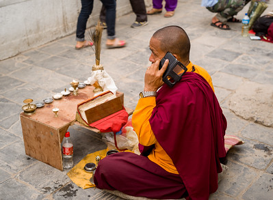 Monk on His Mobile Phone